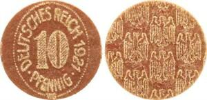 Weimar Parchment Hard Cardboard Probe For Ein 10 Pfennig Piece 1921 Red Brown XF