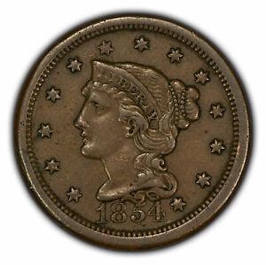 1854 1c Braided Hair Large Cent - XF/AU Coin - SKU-Y2850