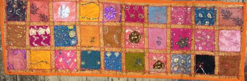Indien tapisserie table coureur 147 cm 147 cm recyclés Sari Dentelle Long Boho