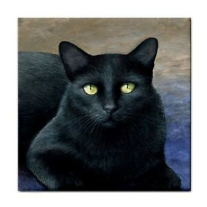 Large-Ceramic-Tile-6x6-Made-in-USA-black-Cat-621-art-painting-by-L-Dumas