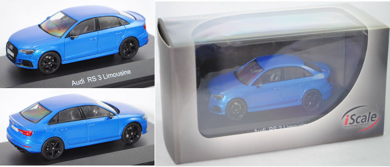 IScale 43000036 Audi rs3 Limousine, arableu Cristal Effet, 1 43, PVC-Box