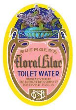 Vintage-Perfume Advert Buergers Floral Lilac Toilet Water Denver Co Poster Print