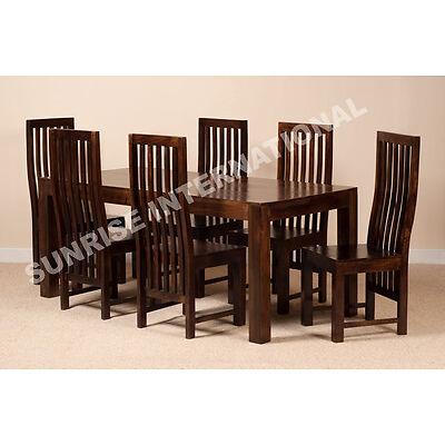 Dark Dakota Range - Wood Dining table with 6 Chair set (7 pc set) !!