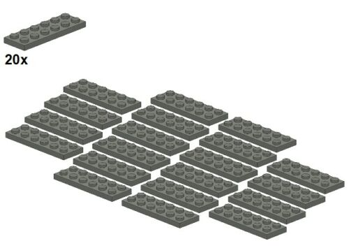 20Stk Plates Dunkelgrau 2x6 Darkbluishgray 3795-09 LEGO® - Platte