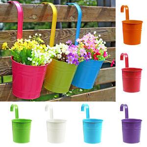 6farben Metall Eisen Fass Blumentopf Hangende Balkon Garten Pflanze Pflanze R3a2 Ebay