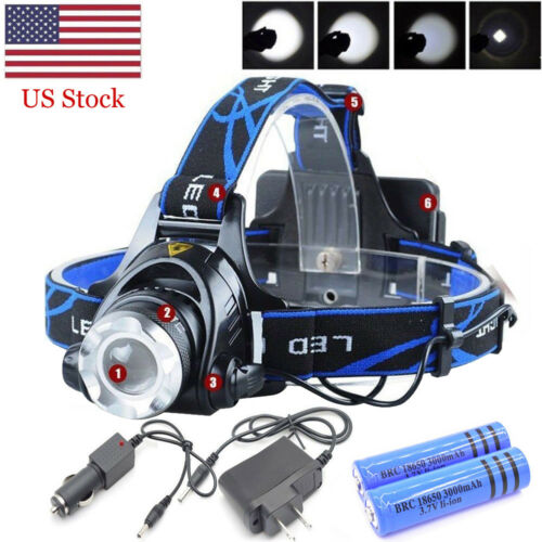 990000LM Rechargeable Tactical Head light LED Headlamp Zoomable+18650+2x Charger
