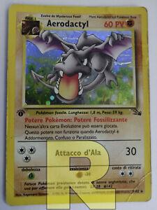 Aerodactyl ® Fossil 1/62 ® Rara Holo Foil ® Pokemon ® 1ª EDIZIONE Italiano Poor
