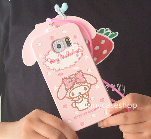 Cartoon Cute pink Melody Rabbit Silicone Case cover for samsung galaxyS7 edge S6