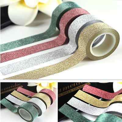5M Glitter Washi Tape Roll Decorative Sticky Paper Masking Adhesive Tape Craft