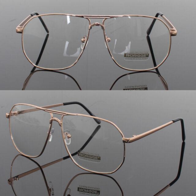 0d9111d02e Mens Womens Retro Metal Frame Clear Lens aviator driving Designer glasses  Gold