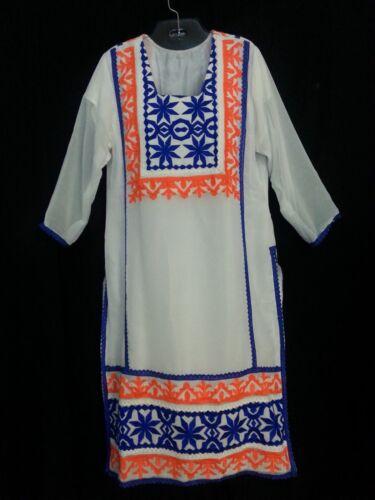 VTG 60s Hand Made Maxi Dress Kaftan White Blue Ora