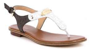 Michael-Kors-MK-Plate-Optic-White-Brown-Logo-Sandal-Women-039-s-sizes-5-11