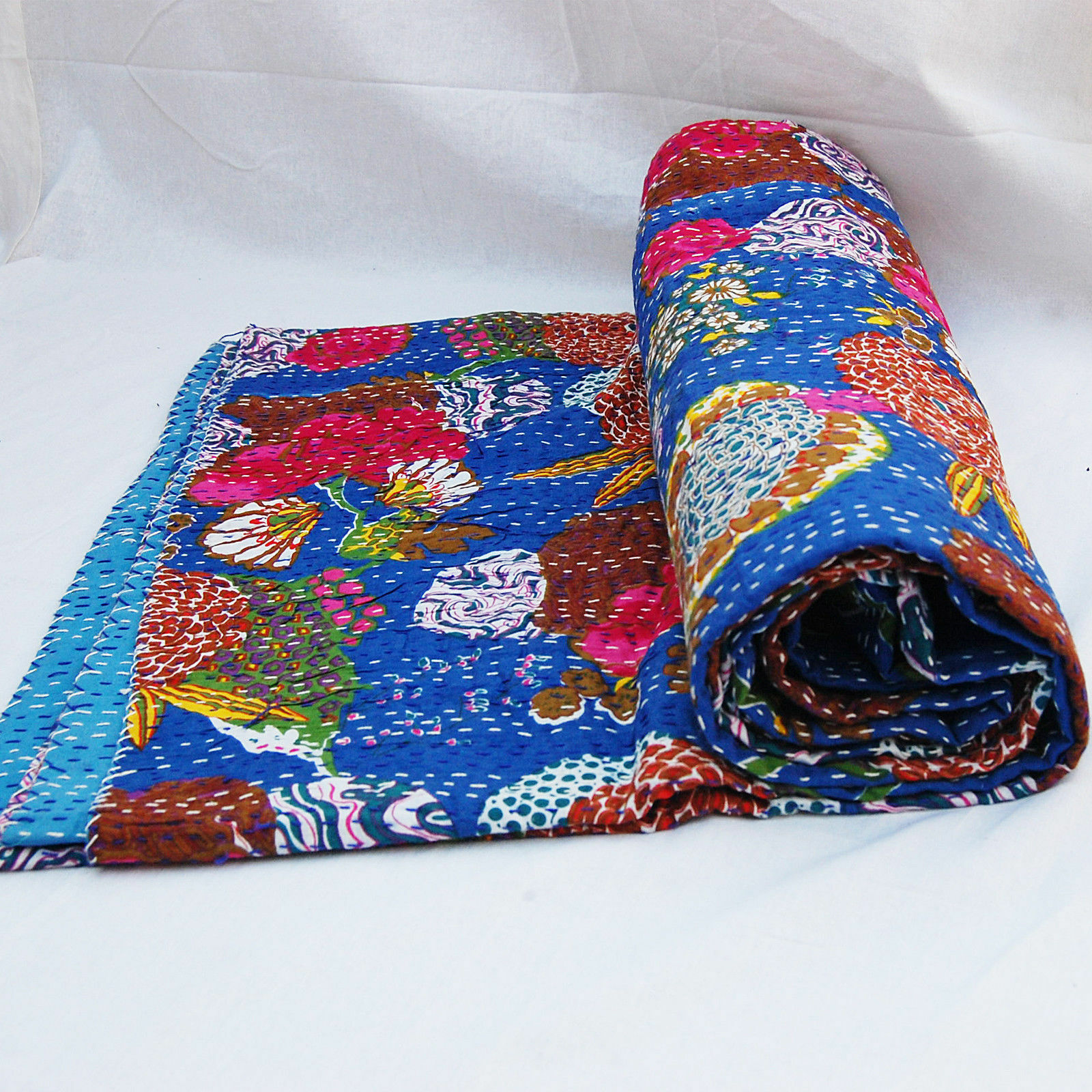 Vintage Fruit Print Indian Kantha Quilts Handmade 100% Cotton Twin Bedding Throw