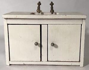 Vintage Doll House Wooden Kitchen Sink Cabinet Counter Storage Bathroom Mini