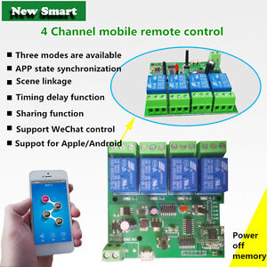 Details about 5V 4-Channel Inching Self-Lock Interlock Wifi Relay Module  For Cellphone Control