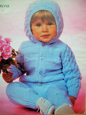 3yrs baby Boys CABLE HOODED JACKET TROUSERS KNITTING PATTERN DK 20-24 in 6 m