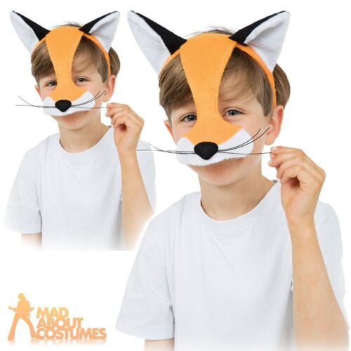 Kids Mr Fox Mask Animal Girls Boys Childs Fancy Dress Costume Accessory Book Day