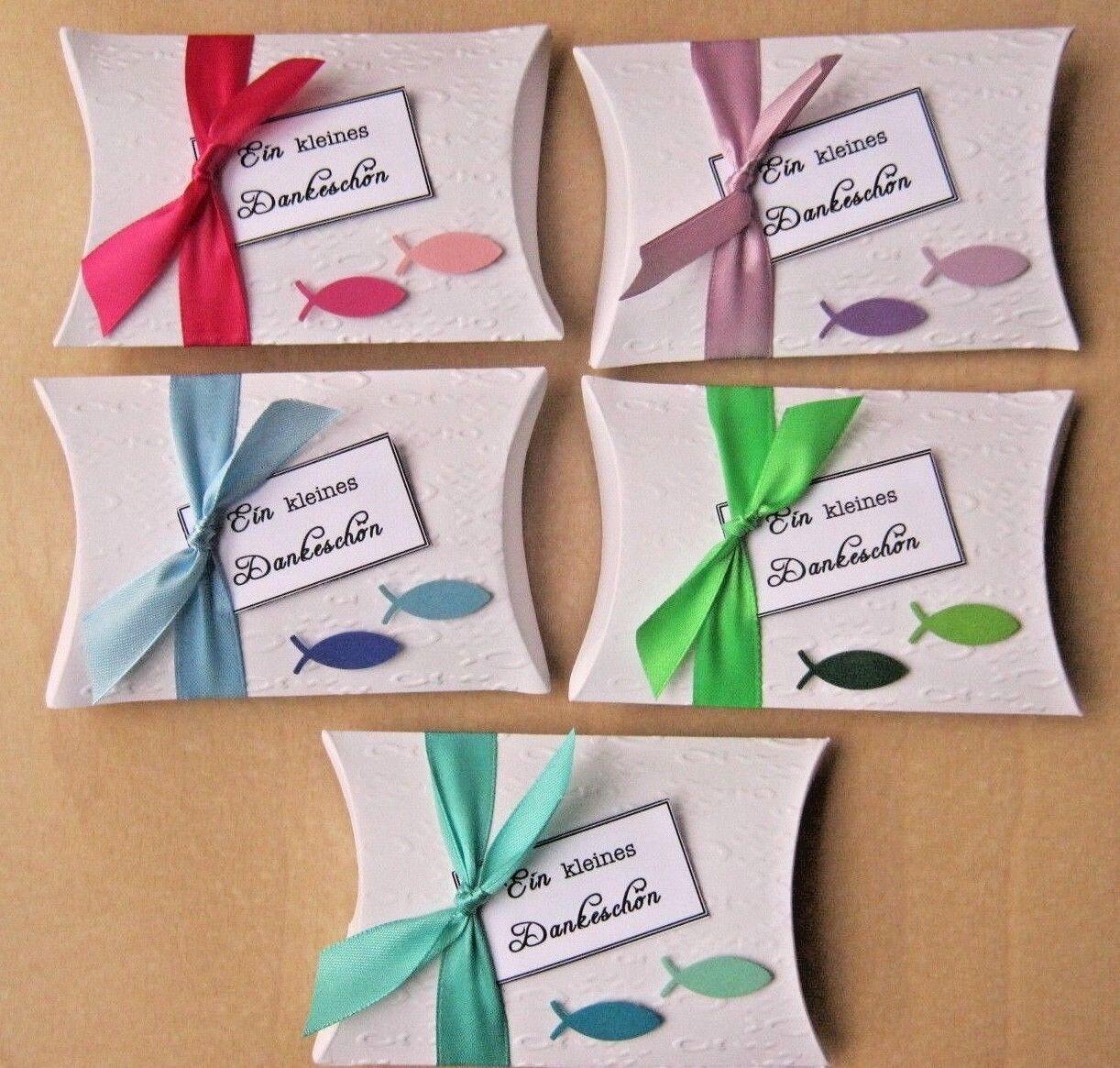 25 x Gastgeschenke Schachteln FISCHE Taufe Kommunion Konfirmation FARBWAHL   Hochwertige Produkte