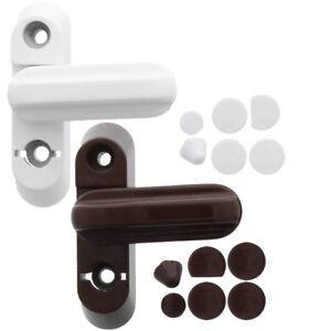 WINDOW/DOOR SASH JAMMERS White Brown UPVC Timber Wood Frame Blocker Lock Catch