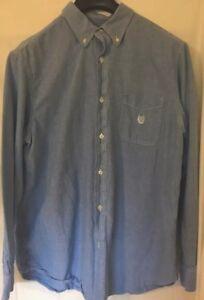 d2245c68 Mens 90s Chaps Ralph Lauren Vintage Blue Denim Button Up Logo Shirt ...