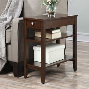 Details about Small End Table Narrow Side Storage Wood Living Room  Furniture Night Stand