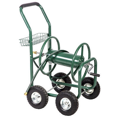 Garden Water Hose Reel Cart Outdoor Heavy Duty Yard Planting W/Basket