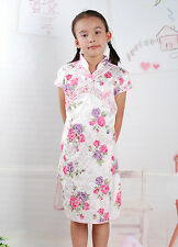 New Cute Girls White and Pink Floral Chinese Dress 4-5 Years