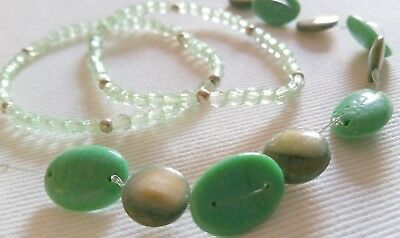 Resin Alicelle Green Bead Necklace & 2 Bracelets Adjustable Reliable Performance Silver Glass