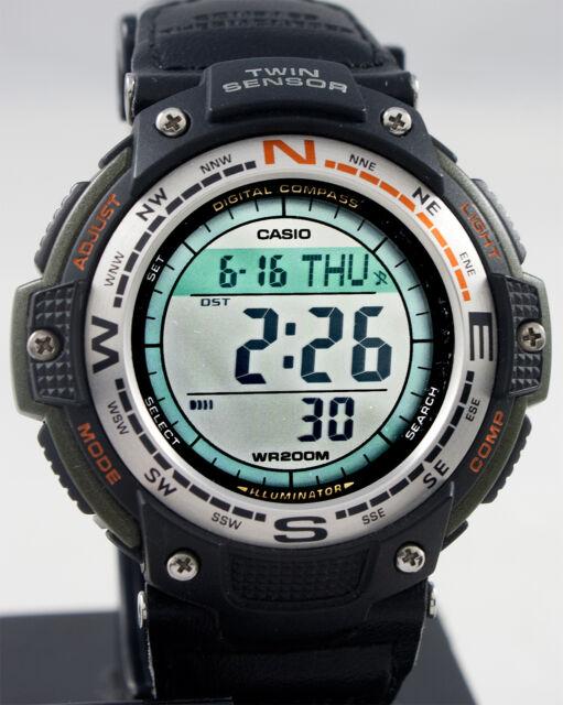 ddd16c44ea7a Reloj Casio Sgw-100b-3v Brujula Termometro Correa cuero y lona ...