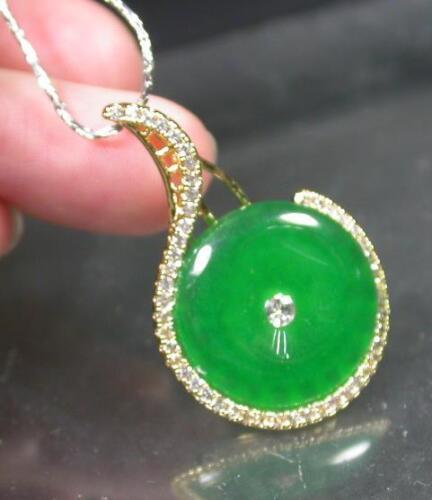 Imitation 280018 Gold Plate Green JADE Pendant Music Circle Necklace Diamond