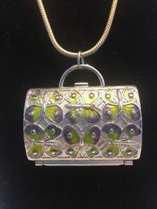 Judith-Leiber-For-Neiman-Marcus-Enamel-Purse-Pendant-Necklace-Charm-Rare