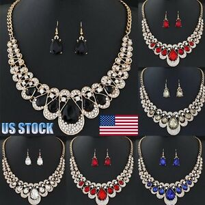 Womens-Ladies-Jewelry-Set-Mixed-Style-Bohemia-Chain-Necklace-Earrings-US-Stock
