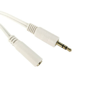 1-2m-3-5mm-Jack-Plug-to-Socket-AUX-Headphone-Extension-Cable-Lead-GOLD-WHITE