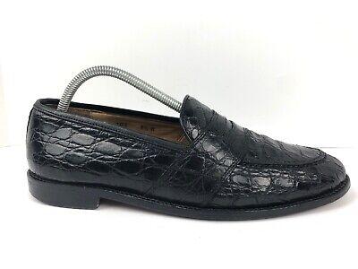 Zelli Black Genuine Crocodile Penny Loafers Slip On Dress ...