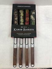 Set of 4 World Market Original Design Nonstick Kabob Grilling Baskets