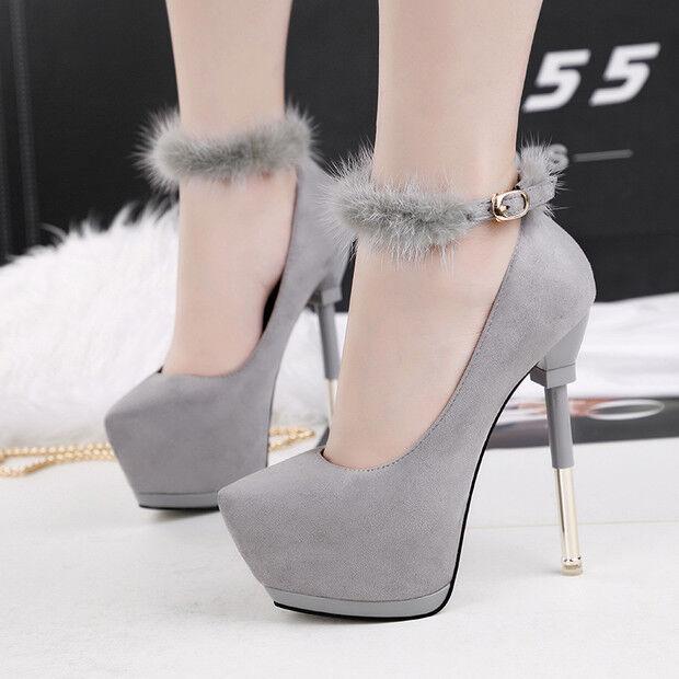 Decolte chaussures invernali 15  stiletto gris pelliccia pelle sintetica 9557