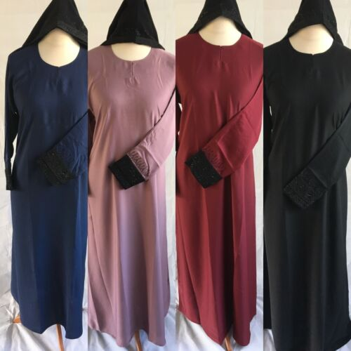 *NEW N04 Ladies Nida Abaya//Jilbab//Maxi Dress Diamante Cuff Various Colours 52-62