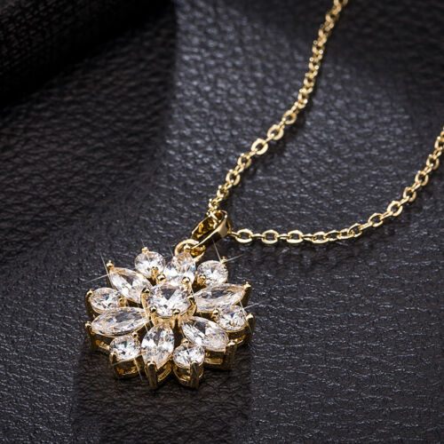 Women Flower Marquise White Topaz 18K Yellow Gold Filled Pendant Chain Necklace