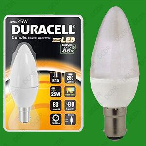 8-x-4W-25W-Duracell-LED-Ghiacciata-Candela-SBC-B15-Bianco-Caldo