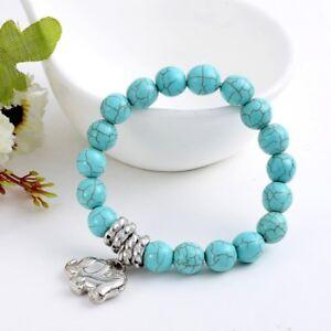 Howlite-Gemstone-Beads-Women-Pendant-Bead-Elephant-Turquoise-Stone-Bracelet