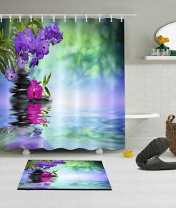 Polyester Waterproof Spa Shower Curtain Set Bathroom Mat Purple Flowers Rocks