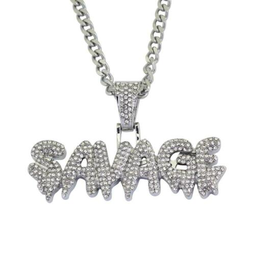 """Hip Hop Iced Drip SAVAGE Pendant /& 3mm 24/"""" Cuban Link 14K Stamped Chain Necklace"""