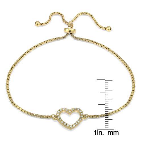 Ton Or Sur Argent Sterling Zircone cubique Cœur Ouvert Réglable Bracelet