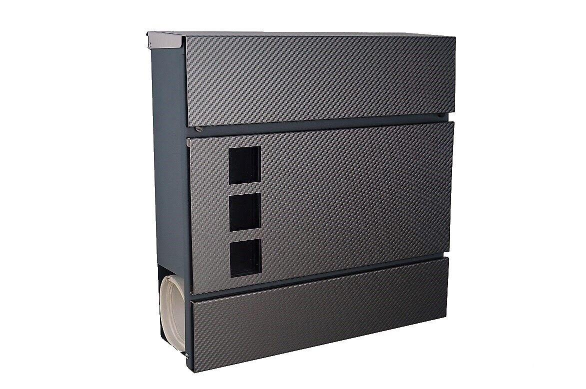 Moderner Briefkasten 111 Edelstahl - anthrazit   grau - carbon mit  Zeitungsfach