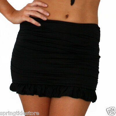 Swimalicious EMILY Ruched Slimming Swim Skirt in Jet Black 10 12 14 16 18
