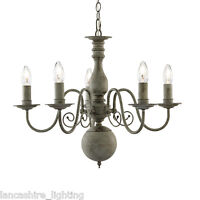 Greythorne Retro Ceiling Light 5 Light Pendant In Textured Grey Steel Finish