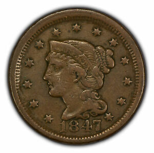 1847 1c Braided Hair Large Cent - VF Coin - SKU-Y2768
