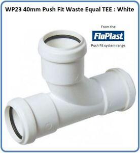 WP23 40mm Push Fit dei rifiuti Pari Tee: BIANCO  </span>