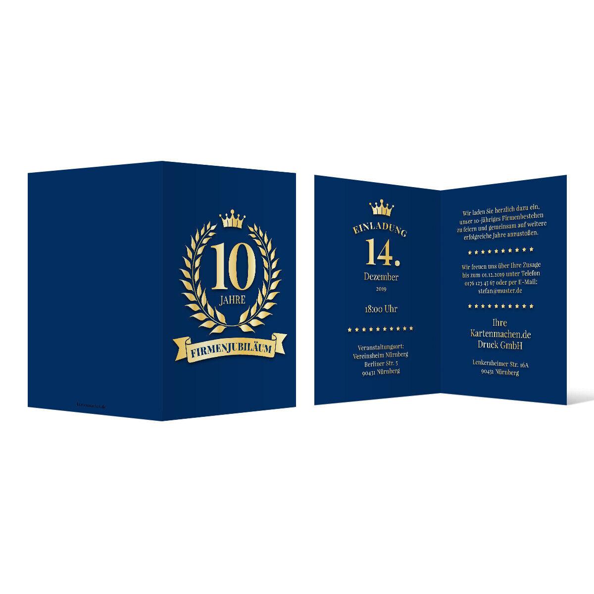 Einladungskarten Firmenjubiläum individuell DIN A6 - Königsblauer Lorbeerkranz