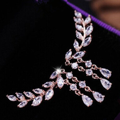 Pendientes de Plata Plateado Joyas de Cristal Hojas Borla Mujeres Circón Oreja Pasador